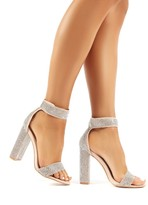 New Deals on Public Desire Lure pale blue block heeled clear