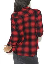 Wet Seal Roll Sleeve Studded Plaid Shirt