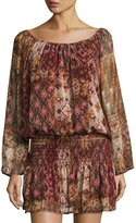 On the Road Delia Printed Elasticized Dress, Brown Patter