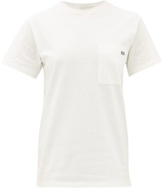 Hillier Bartley Monogram-embroidered Cotton T-shirt - White