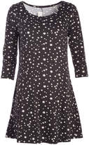 Glam Black & White Stars Scoop Neck Maternity Tunic