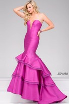 Jovani Strapless Tiered Skirt Mermaid Dress 37099
