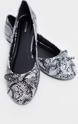 PrettyLittleThing Snake Print Wide Fit Round Toe Ballet Shoe