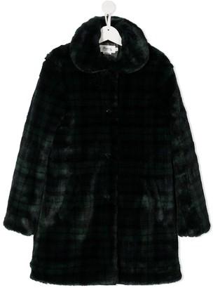Bonpoint Faux-Fur Check Coat