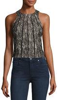 Haute Hippie Sleeveless Paneled Lace Crop Top, Black
