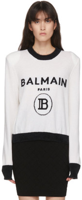 Balmain Black and White Cashmere Logo Sweater