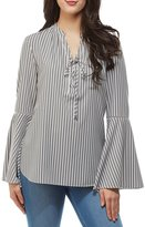 Peter Nygard Bell Sleeve Lace Up Peasant Top