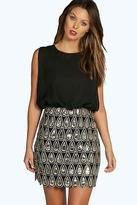 boohoo NEW Womens Boutique Naya Sequin Chiffon Bodycon Dress in Polyester