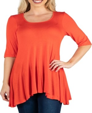 24seven Comfort Apparel Women's Elbow Sleeve Swing Tunic Top