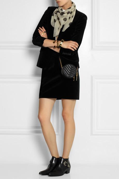 Saint Laurent Polka-dot silk-georgette scarf