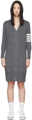 Thom Browne Grey Milano Stitch 4-Bar Long Cardigan