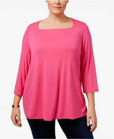 INC International Concepts Plus Size Square-Neck Top, Only at Macy's