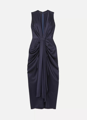 Sid Neigum - Gathered Pleated Satin Gown - Navy