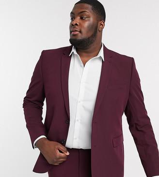 Burton Menswear Big & Tall skinny suit jacket in burgundy