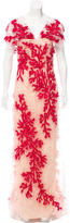 Carolina Herrera Sleeveless Embroidered Gown