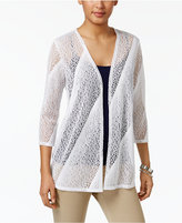 JM Collection Pointelle Open-Front Cardigan, Only at Macy's