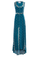 Luisa Beccaria Embroidered Velvet Dress With Buttons