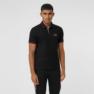 Burberry Logo Applique Cotton Pique Polo Shirt