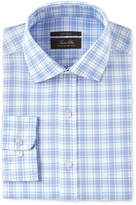 Tasso Elba Men's Classic/Regular Fit Non-Iron Blue Purple Basketweave Plaid Dress Shirt, Created for Macy's