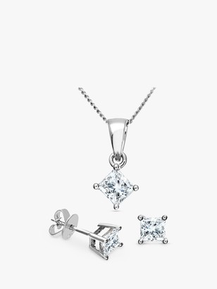 Mogul 18ct White Gold Princess Cut Diamond Solitaire Stud Earrings and Pendant Necklace Jewellery Set, 0.66ct