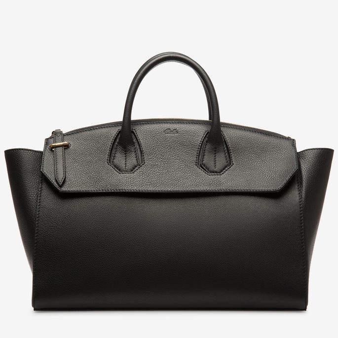 Bally Sommet Zip Large Black, Women's large bovine leather top handle bag in black