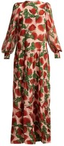 Adriana Degreas Fiore Tiered Floral-print Silk Dress - Womens - Pink Print