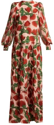 Adriana Degreas Fiore Tiered Floral-print Silk Dress - Pink Print