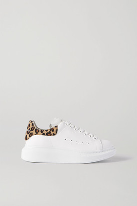 Alexander McQueen Leopard-print Suede And Leather Exaggerated-sole Sneakers - White