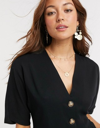 Asos Design DESIGN boxy top with contrast buttons-Black