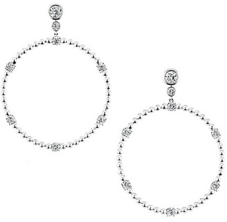 Maria Canale Flapper 18K White Gold & Diamond Front Facing Hoop Earrings
