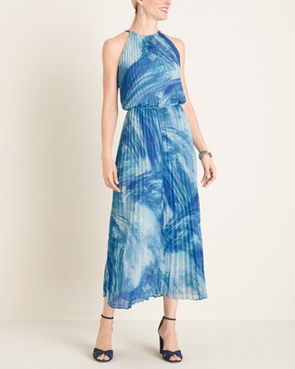 Chico's Printed Pleated Halter Maxi Dress