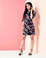 Yumi Floral Frill Trim Tunic Dress