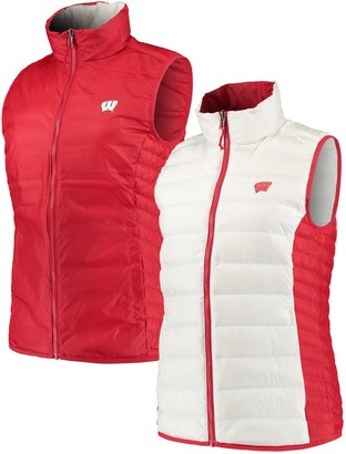 Columbia Unbranded Women's White/Red Wisconsin Badgers Lake 22 Reversible Puffer Vest