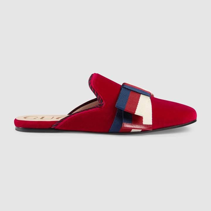 Gucci Velvet slipper with Sylvie bow