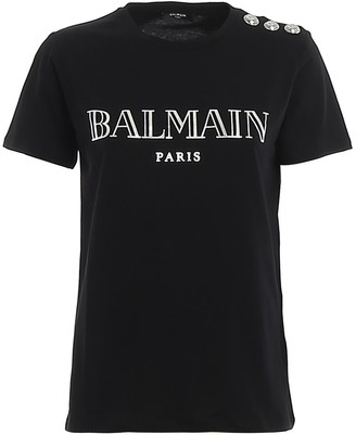 Balmain Logo Button Detail T-Shirt