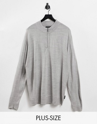 French Connection Plus soft touch half zip knit sweater in gray heather