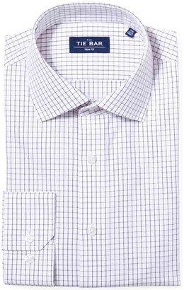 Tie Bar Classic Check Burgundy Non-Iron Dress Shirt