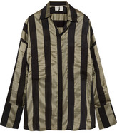 Topshop Duvall Oversized Striped Satin Shirt - Army green