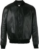 Saint Laurent textured leather bomber jacket - men - Cotton/Lamb Skin/Cupro/Wool - 48