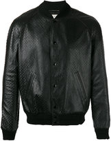 Saint Laurent textured leather bomber jacket - men - Cotton/Lamb Skin/Cupro/Wool - 50