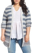 Lucky Brand Plus Size Women's Geo Border Stripe Cardigan