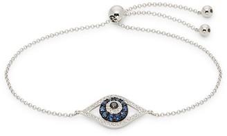 Effy 14K White Gold, Sapphire & Diamond Evil Eye Bolo Bracelet