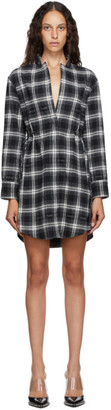 Off-White Black and Green Check Stand Collar Shirt Dress
