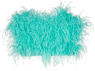 The Attico Ostrich Feather Cropped Bustier