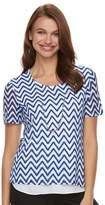 Women's Napa Valley Chevron Mock-Layer Necklace Top