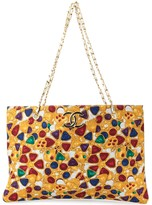 Chanel Pre Owned 1986-1988 Jewelry Pattern Jumbo XL Chain Shoulder Tote Bag