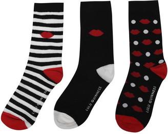 Lulu Guinness Spot Lip 3 Pack Socks
