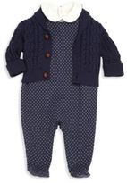 Ralph Lauren Baby's Three-Piece Bodysuit, Footed Overalls & Cardigan Set