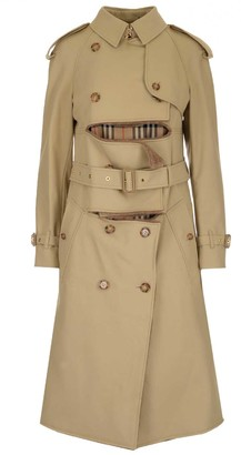 Burberry Deconstructed Belted Shearling Trench Coat
