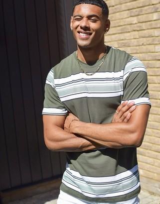 Topman stripe t-shirt in khaki